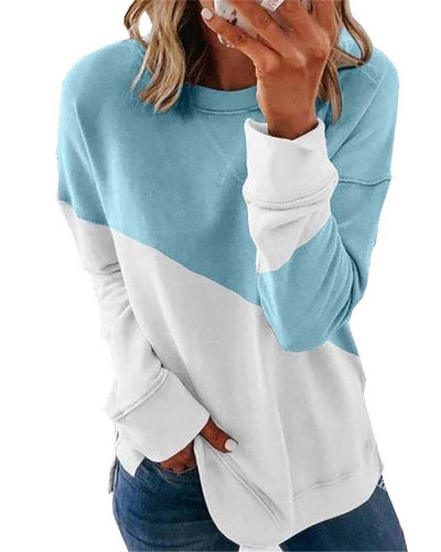 Bule Long sleeve stitching round neck contrast top T-shirt