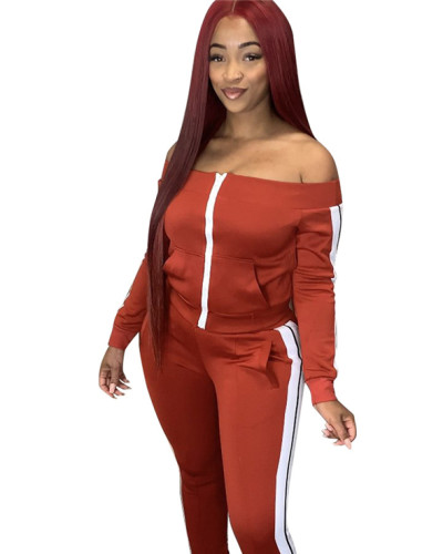 Red Spliced trousers split leisure sports suit