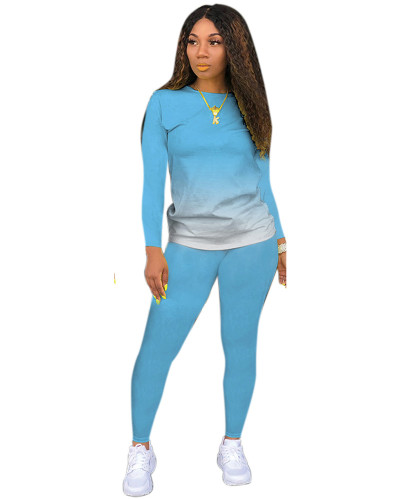 Light Blue Classic casual solid color gradient long sleeve two-piece suit