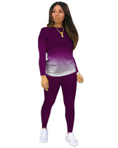 Purple Classic casual solid color gradient long sleeve two-piece suit