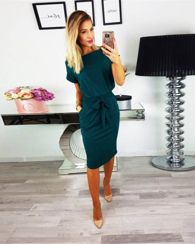 Dark green Fashion lace round neck pocket dress long skirt