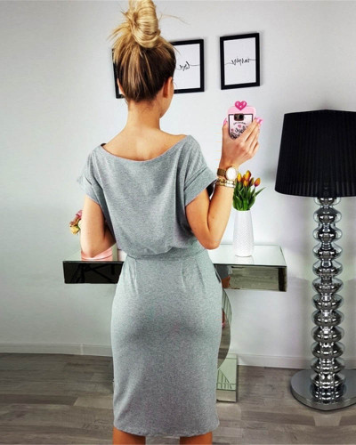 Gray Fashion lace round neck pocket dress long skirt