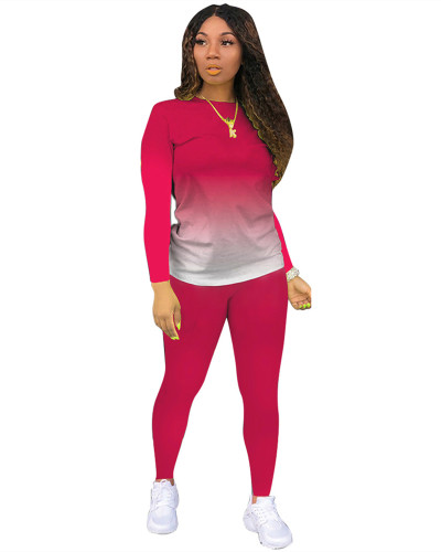 Rose Red Classic casual solid color gradient long sleeve two-piece suit