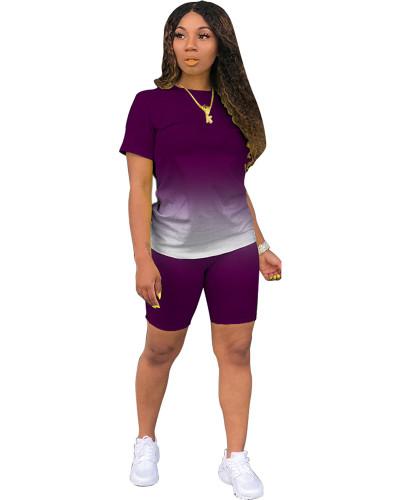 Purple Classic fashion casual gradient solid color two-piece suit