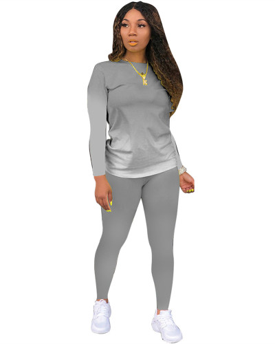 Gray Classic casual solid color gradient long sleeve two-piece suit