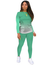 Light Green Classic casual solid color gradient long sleeve two-piece suit