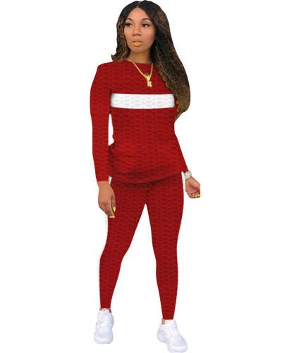 Red Two-piece white striped skinny waffle check