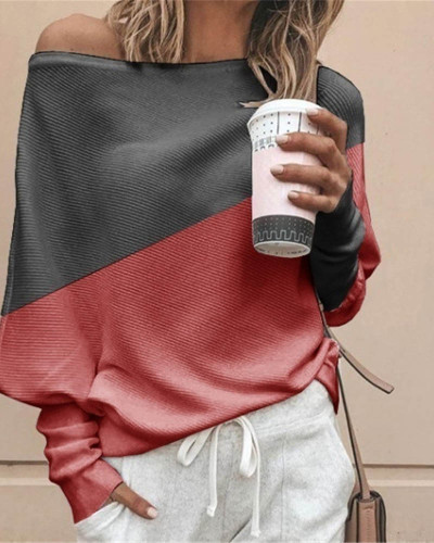 Red Bat shirt loose and thin pit strip color matching big round neck long sleeve T-shirt