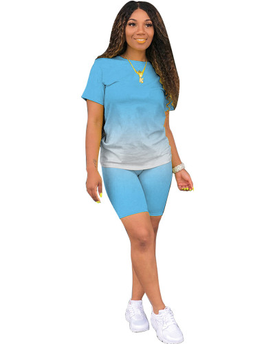 Light Blue Classic fashion casual gradient solid color two-piece suit