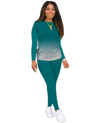Green Classic casual solid color gradient long sleeve two-piece suit
