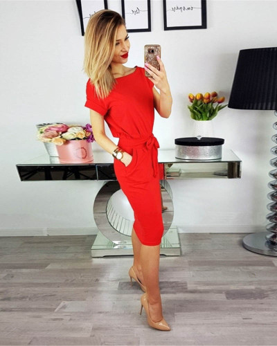 Red Fashion lace round neck pocket dress long skirt