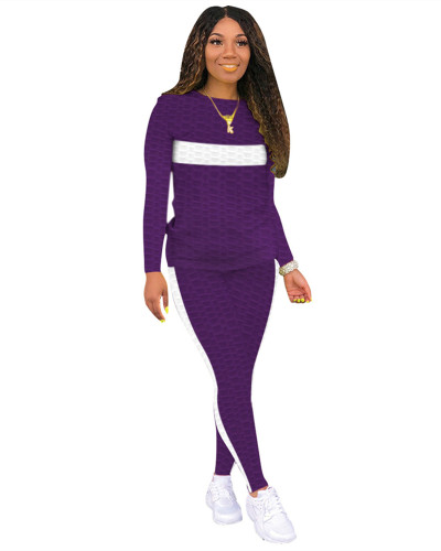 Purple Two-piece white striped skinny waffle check
