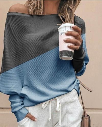 Bule Bat shirt loose and thin pit strip color matching big round neck long sleeve T-shirt