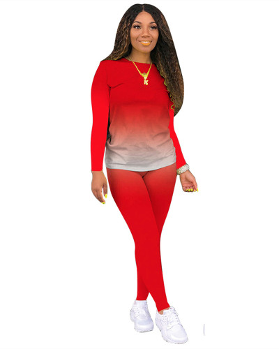 Red Classic casual solid color gradient long sleeve two-piece suit
