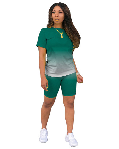 Green Classic fashion casual gradient solid color two-piece suit