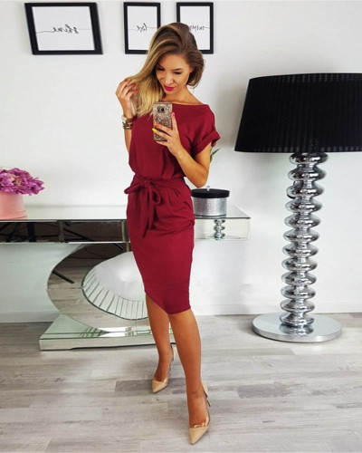Claret Fashion lace round neck pocket dress long skirt