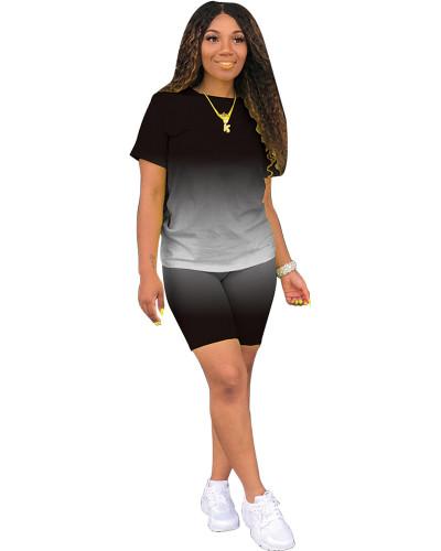 Black Classic fashion casual gradient solid color two-piece suit