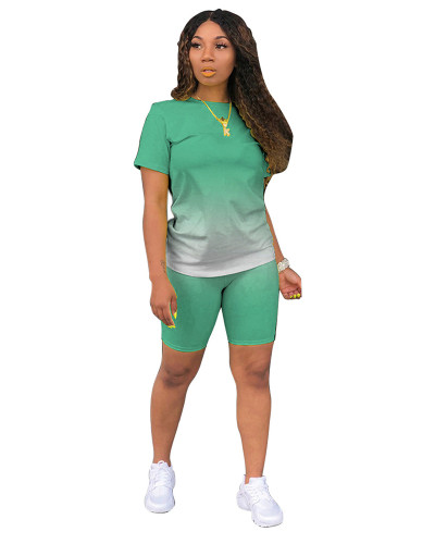 Light Green Classic fashion casual gradient solid color two-piece suit
