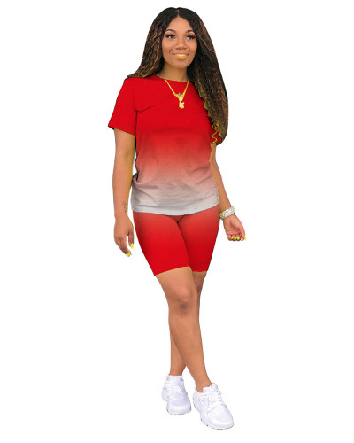 Red Classic fashion casual gradient solid color two-piece suit