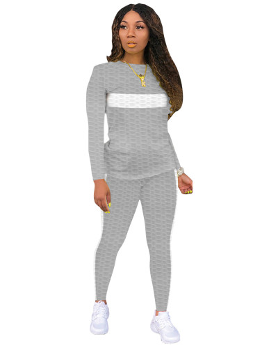 Gray Two-piece white striped skinny waffle check