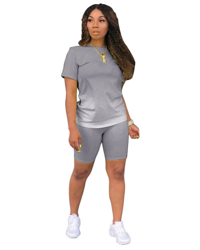 Gray Classic fashion casual gradient solid color two-piece suit