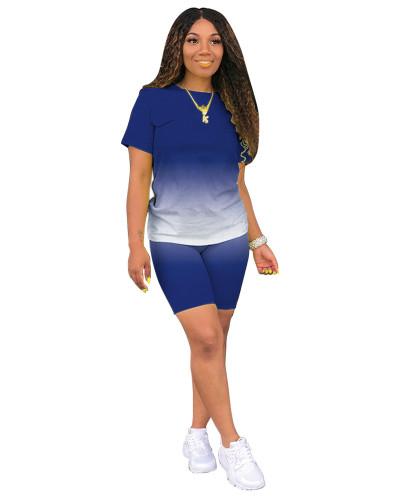 Blue Classic fashion casual gradient solid color two-piece suit