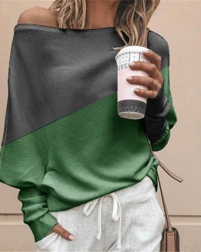 Bat shirt loose and thin pit strip color matching big round neck long sleeve T-shirt