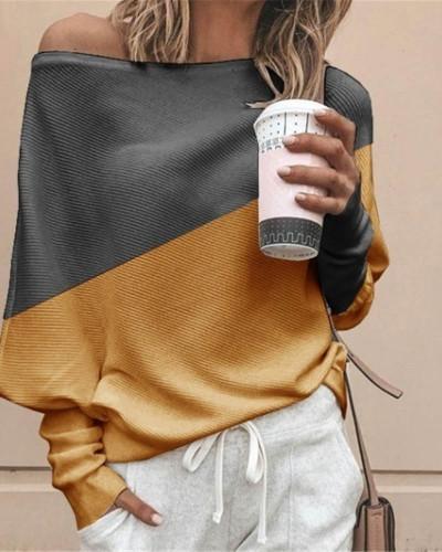 Yellow Bat shirt loose and thin pit strip color matching big round neck long sleeve T-shirt