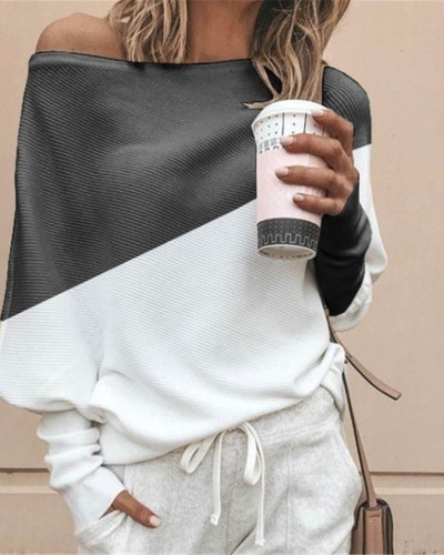 White Bat shirt loose and thin pit strip color matching big round neck long sleeve T-shirt