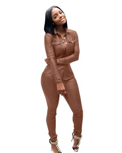 Brown Casual pu leather suit