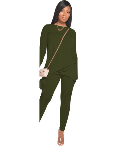 Green Red Fashion casual solid color bow long sleeve two-piece suit