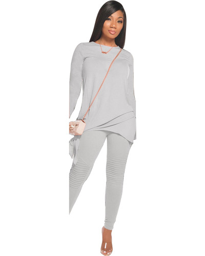 Gray Fashion casual solid color bow long sleeve two-piece suit