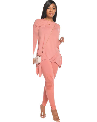 Pink Fashion casual solid color bow long sleeve two-piece suit