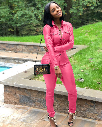 Pink Casual pu leather suit
