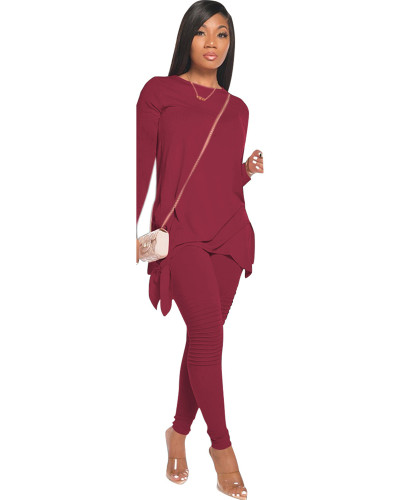 Dark Red Fashion casual solid color bow long sleeve two-piece suit