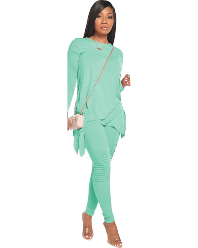 Light Green Red Fashion casual solid color bow long sleeve two-piece suit