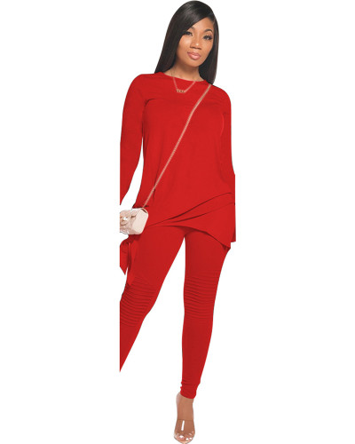 Red Red Fashion casual solid color bow long sleeve two-piece suit