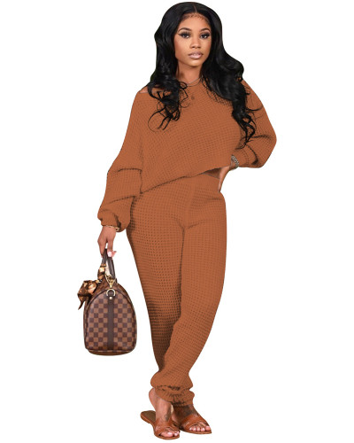 Brown Two-piece solid color bat sleeve sweater