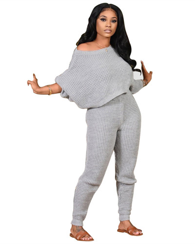 Gray Two-piece solid color bat sleeve sweater