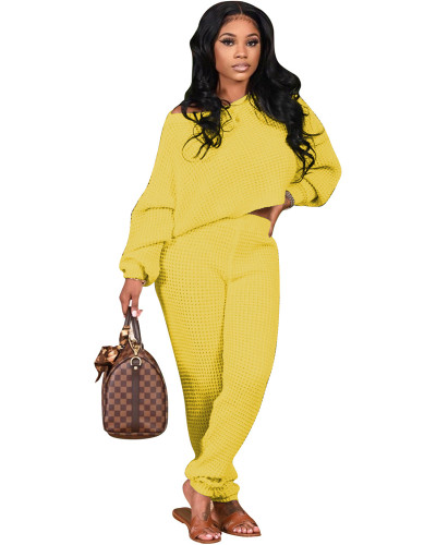 Yellow Two-piece solid color bat sleeve sweater