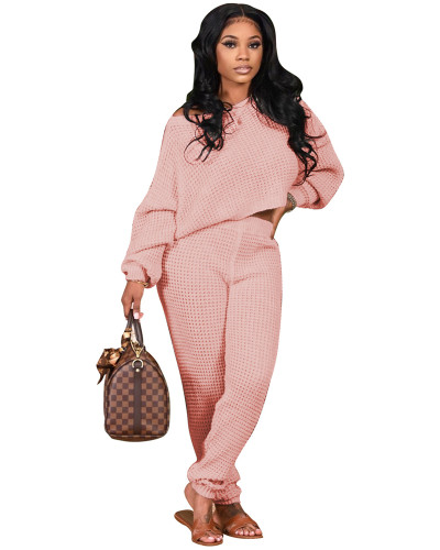Pink Two-piece solid color bat sleeve sweater