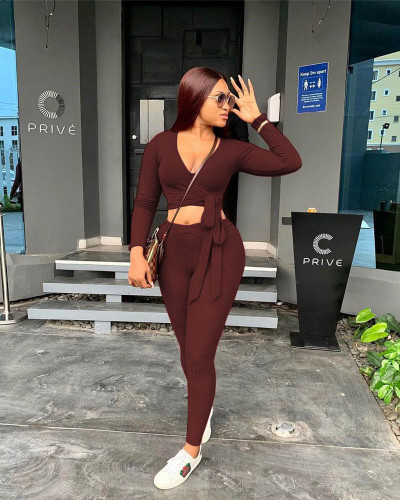 Coffee Two-piece solid color ribbed straps slim fit