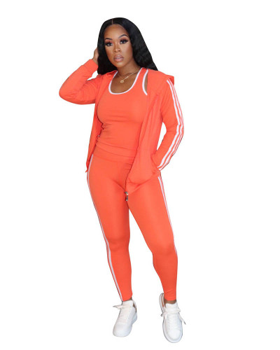 Orange Casual solid color classic white ribbon sports hooded three-piece suit