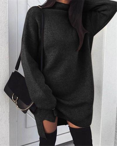 Black Casual plus size loose knit high neck split dress