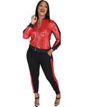 Red Multicolor sequin stitching zipper suit