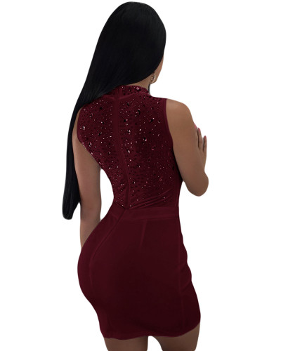 Red Sexy women's hot drilling mesh dress