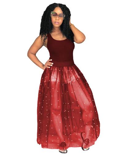 Red Sexy loose beaded mesh tutu skirt