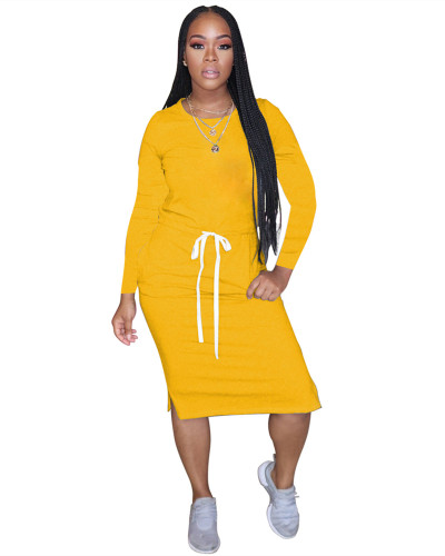 Yellow Classic simple casual solid color long sleeve dress