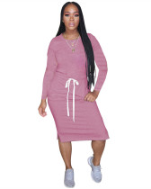 Pink Classic simple casual solid color long sleeve dress