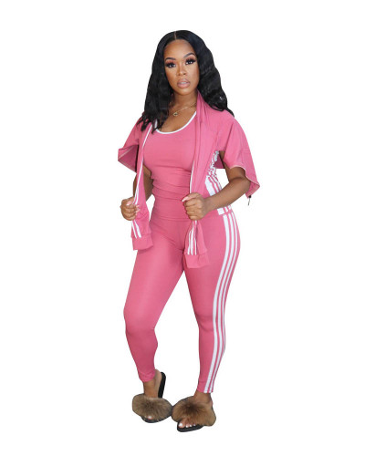 Pink Casual solid color classic white ribbon sports hooded three-piece suit